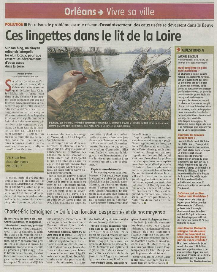 Ces lingettes dans le lit de la Loire, Marion BONNET et Blondine LAMORISSE, La république du Centre Mars 2012